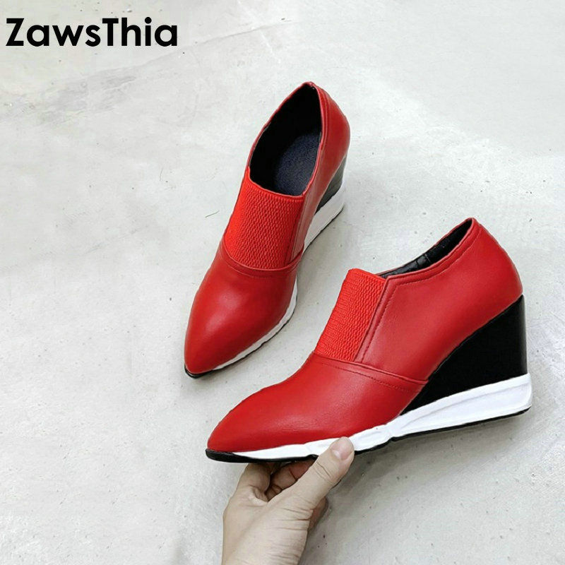 ZawsThia 2020 Spring Autumn Pointed Toe Red Black Wedges Woman Pumps Pointed Toe Casual Women High Heels Shoes Slip-on Size 40