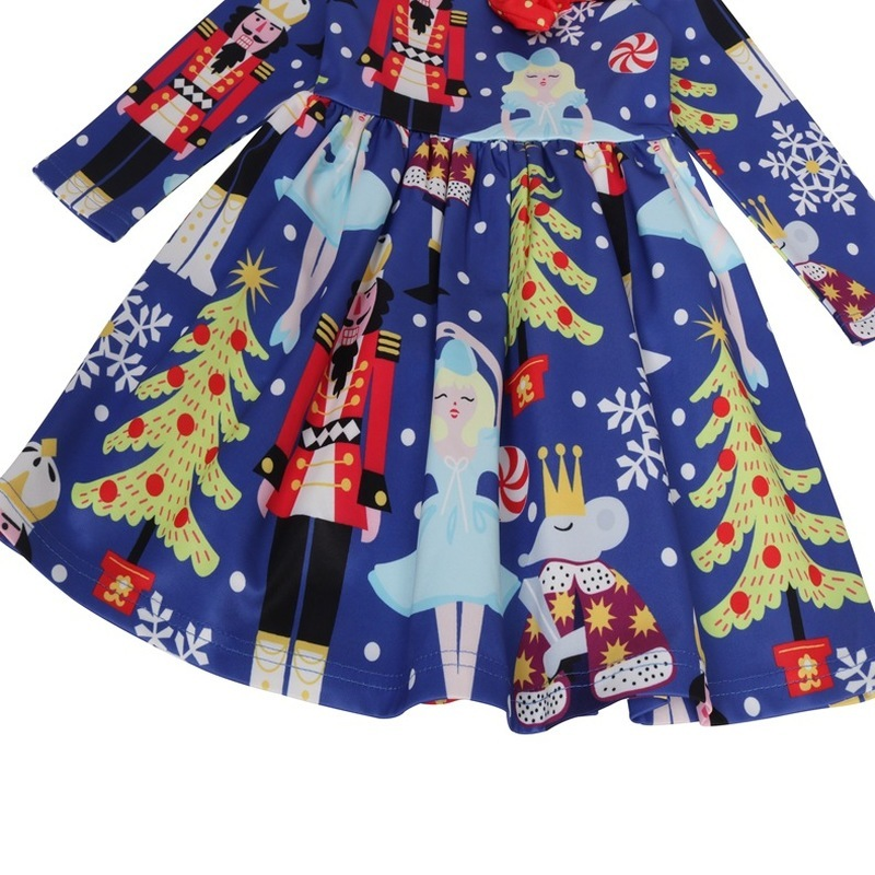 Christmas Dress Nutcrackers Cottons Baby Girls Kids Children Xmas Party Clothing