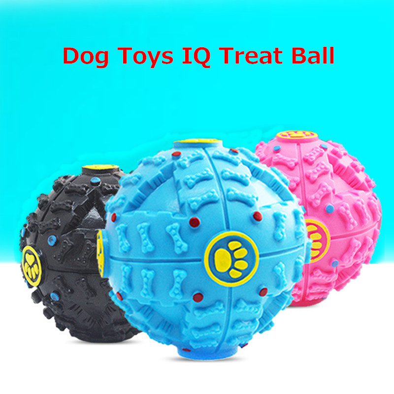 Dog Toys IQ Treat Ball Puppy Dog Cat Food Dispenser Ball Silicone Sound Pet Dog Golden Retriever Chew Squeaky Ball Toy