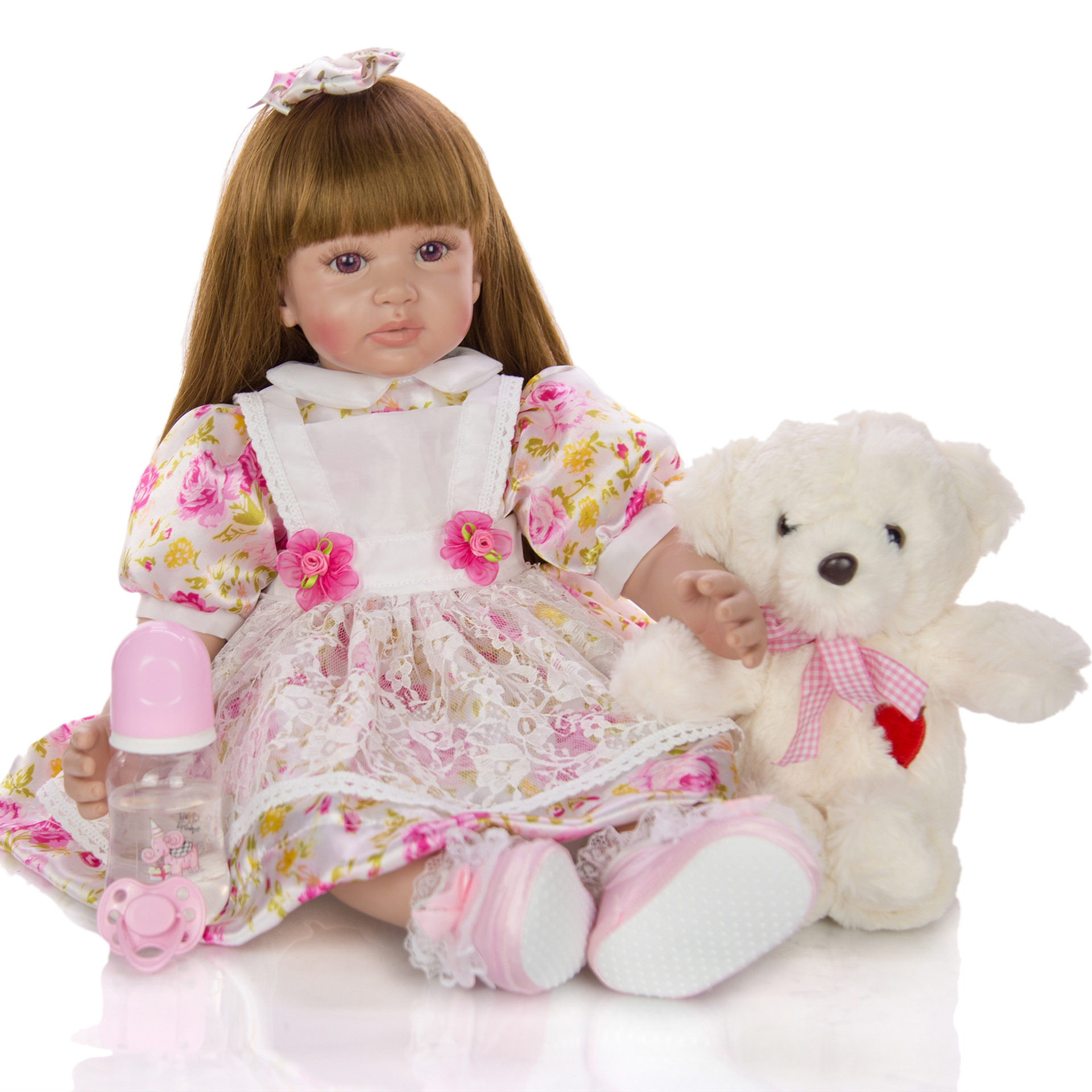 KEIUMI <font><b>60</b></font> <font><b>cm</b></font> <font><b>Reborn</b></font> toddler Girl realista bebe <font><b>Reborn</b></font> Cloth Body silicone vinyl <font><b>dolls</b></font> 24 Inch <font><b>Reborn</b></font> Boneca Toy For kids gift image
