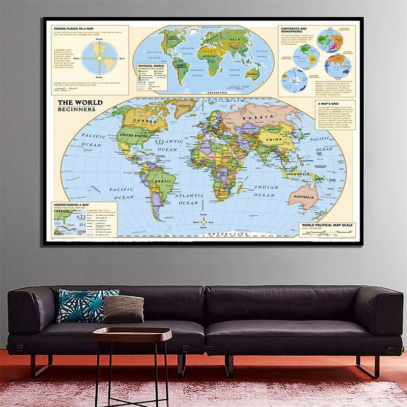 Physical World Map 150x100cm Non-woven Foldable Map With Detailed Label Without National Flag For Beginner Home Decor