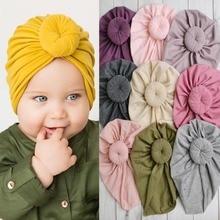 Baby Cotton Knit Beanie Hats For Toddler girls Top knot donut turban hat Autumn Winter Headwear Warm Hat H079S
