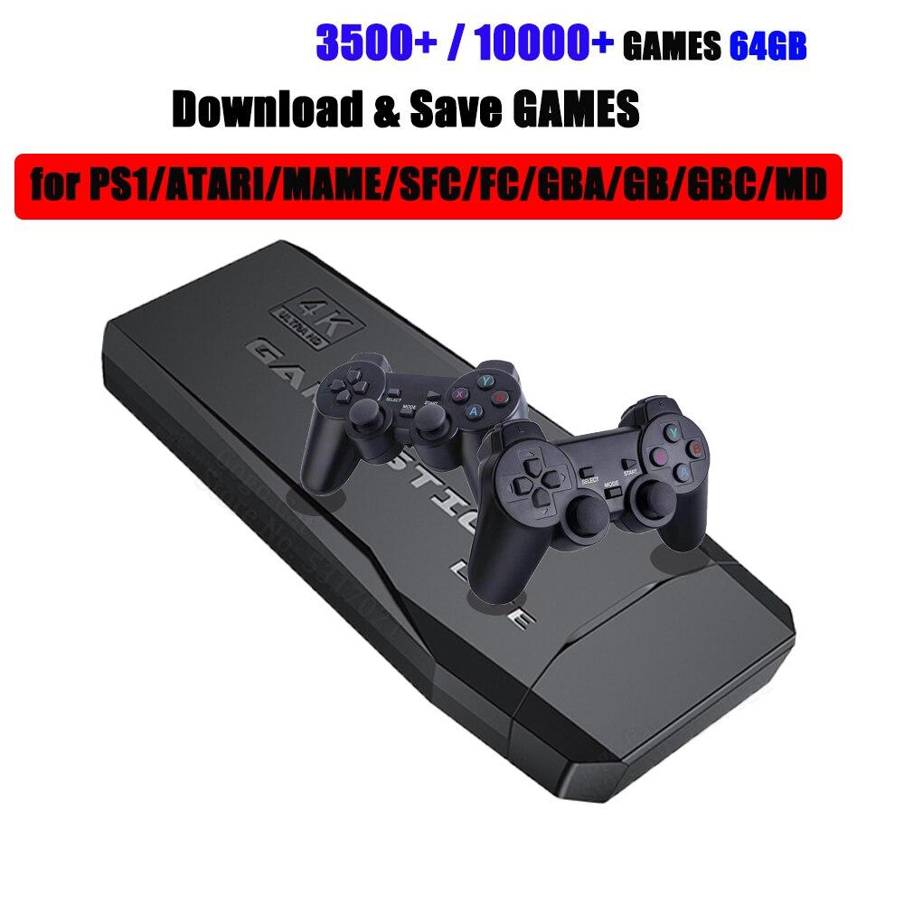 אלחוטי וידאו משחק קונסולת 2.4G 4K HD טלוויזיה בקר רטרו 64GB 10000 משחק רטרו כפול Gamepads נגן עבור PS1/GBA/MD/SNES מתנה
