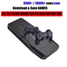 وحدة تحكم ألعاب فيديو لاسلكية 2.4G 4K HD ، وحدة تحكم ريترو مع تلفزيون 64 جيجابايت ، 10000 لعبة ريترو مزدوجة لـ PS1/GBA/MD/SNES Gift