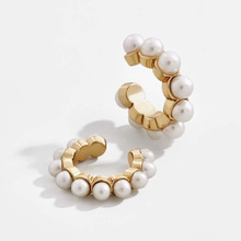 Gold Ear Cuff Pearl Circle Clip Earrings for Women Girls Bohemian Geometric Statement Hoop Earring Fashion Party Wedding Jewelry