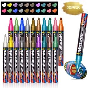 Image 1 - المعدنية أقلام خطاط (ماركر) للماء الدائم DIY غير سامة أقلام خطاط (ماركر) 20 الألوان الكتابة على الجدران القرطاسية اللون القلم العودة إلى المدرسة