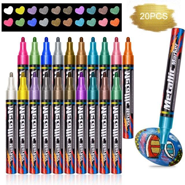 المعدنية أقلام خطاط (ماركر) للماء الدائم DIY غير سامة أقلام خطاط (ماركر) 20 الألوان الكتابة على الجدران القرطاسية اللون القلم العودة إلى المدرسة