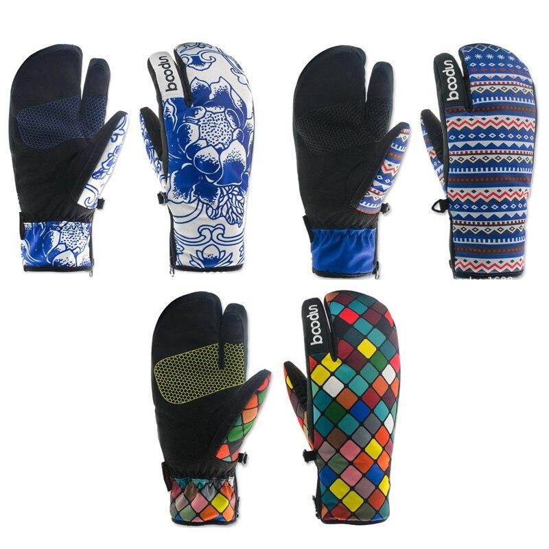 Лидер продаж, женские лыжные перчатки, ветрозащитные водонепроницаемые Нескользящие теплые варежки