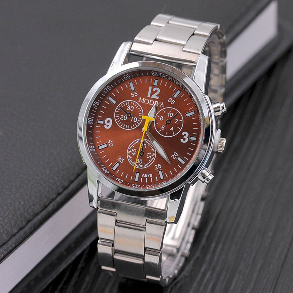 Metal Surface Steel Strip Fashion Casual Luxury Analog Quartz Watch Mens Watch with High Precision Gift Present GD025