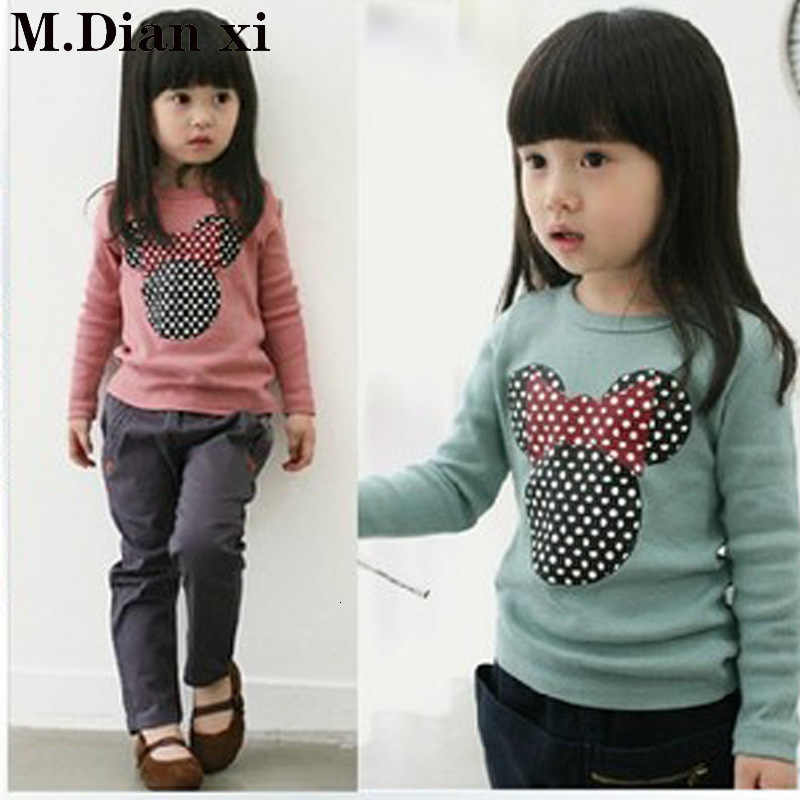 Spring and Autumn New Children's Wear Big Girl Minnie Long Sleeve Bottoming Shirt Cute Embroidered Top O-Neck TShirt
