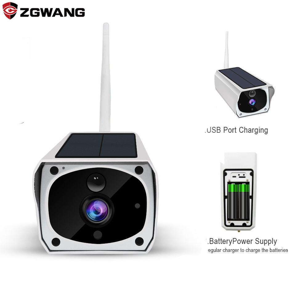ZGWANG 1080P Wifi IP Solar Bullet Camera Outdoor Waterproof Wireless IR Night Vision Video CCTV Security Surveillance Camera