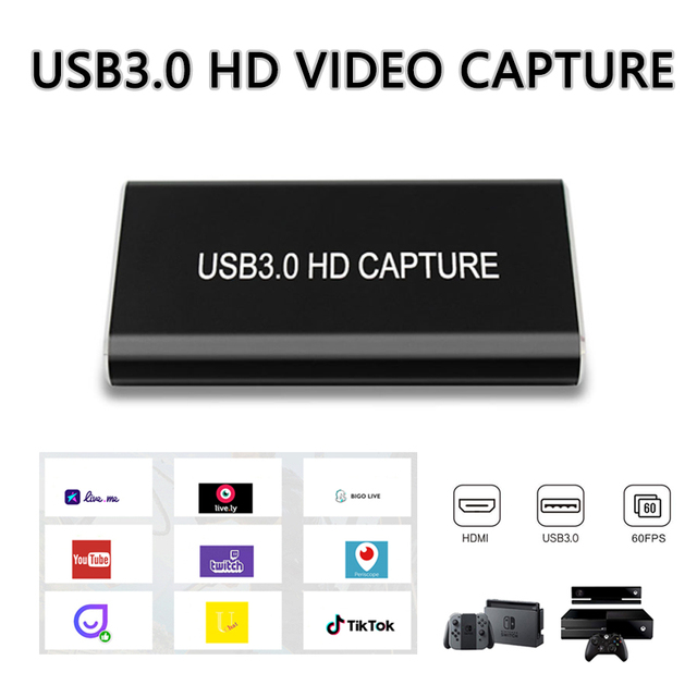 USB 3.0 HDMI Video Capture Card Device HD USB3.0 1080p60Hz Live Stream Game  Audio CaptureGrabber for wins10 Linux MAC PS4 DVD