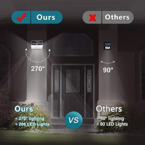 Image 2 - 206 LED Solar Light Pir Motion Sensor Decorative Solar Wall Light Outdoor Waterproof Led Solar Lamp For Garden Street Pathway