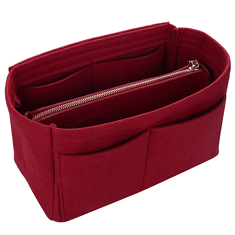 Makeup Bag Cosmetic Cases Felt Bag Organizer Insert Cosmetic Bags Makeup Case Travel Toiletry Bag Handbags Organizer Red S