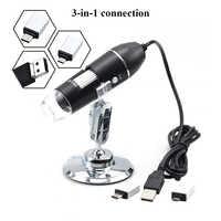 Microscopio de soporte microscopio digital Usb 500X 1000X 1600X microscopio Led portátil para reparación de teléfonos móviles microscopio biológico