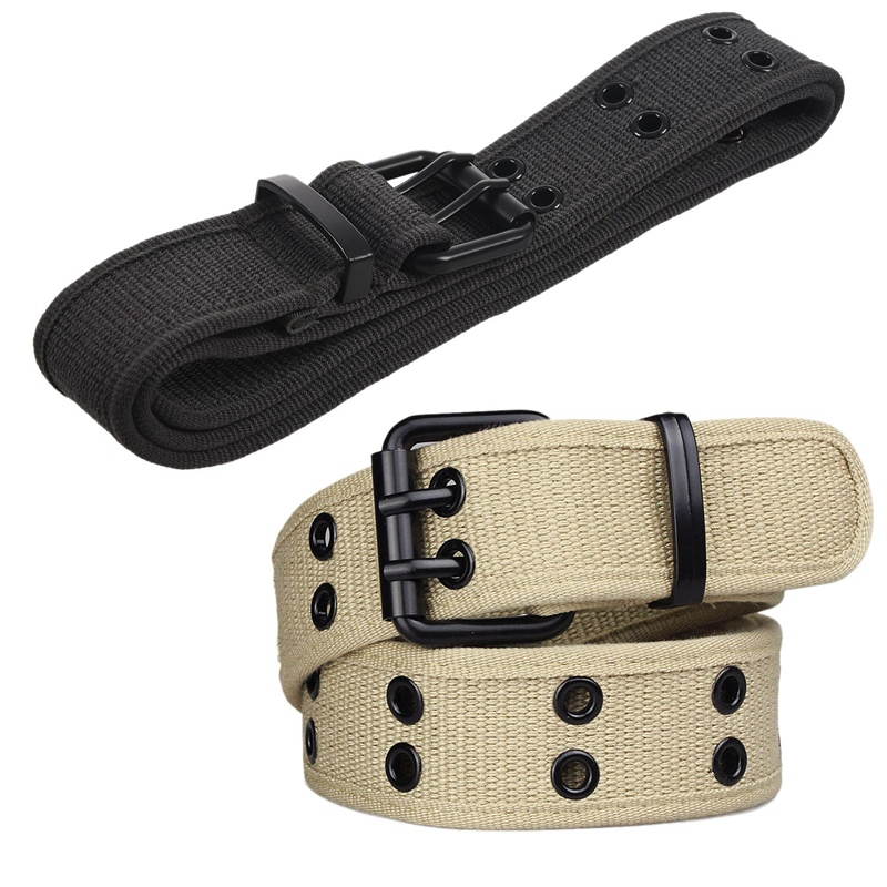 2 Pcs New Canvas Web Belt Two Hole Grommets Black Metal Roller Buckle Men Women, Khaki & Gray