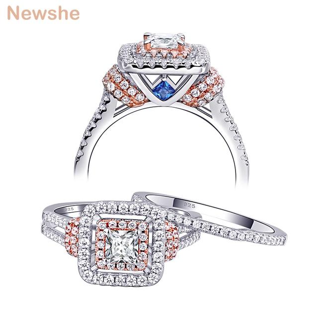 Newshe Conjuntos de anillos de boda de Color oro rosa de Halo de plata 925 sólida para mujer, piedras laterales azules, joyería de lujo BR0760