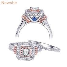 Newshe kobiet stałe 925 Sterling Silver Halo różowe złoto kolor zestaw obrączek ślubnych niebieskie kamienie boczne Upmarket biżuteria BR0760