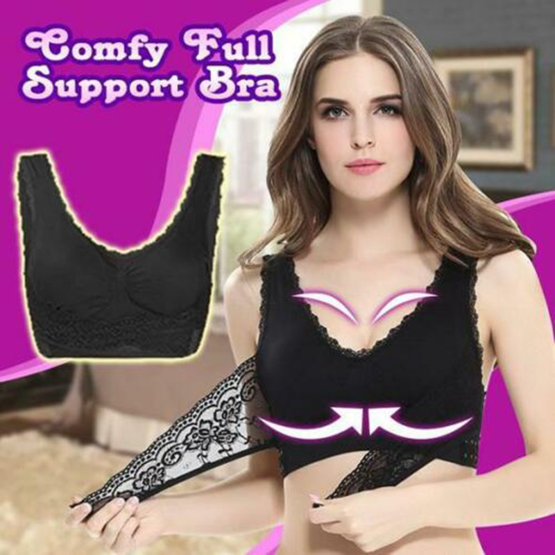 Newly Comfy Full Support Bra Lace Bralette Solid Color Front Cross Side Buckle Brassiere  FIF66