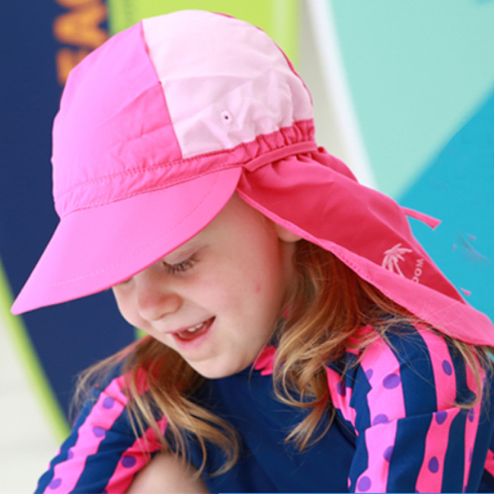 South Korea-Style CHILDREN'S Swimming Cap With Along College Style Swimming Cap Seaside Beach Play With Water Children Sun-resis
