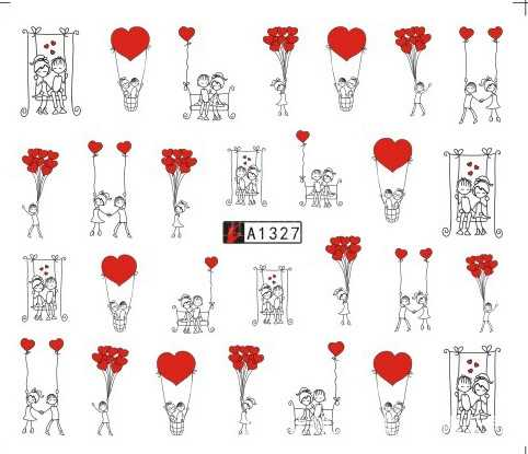 สติกเกอร์เล็บเล็บArt Decals TATTOO Slider Sweetheart Loverหัวใจรักการออกแบบตกแต่งเล็บPegatinaฟอยล์Wraps