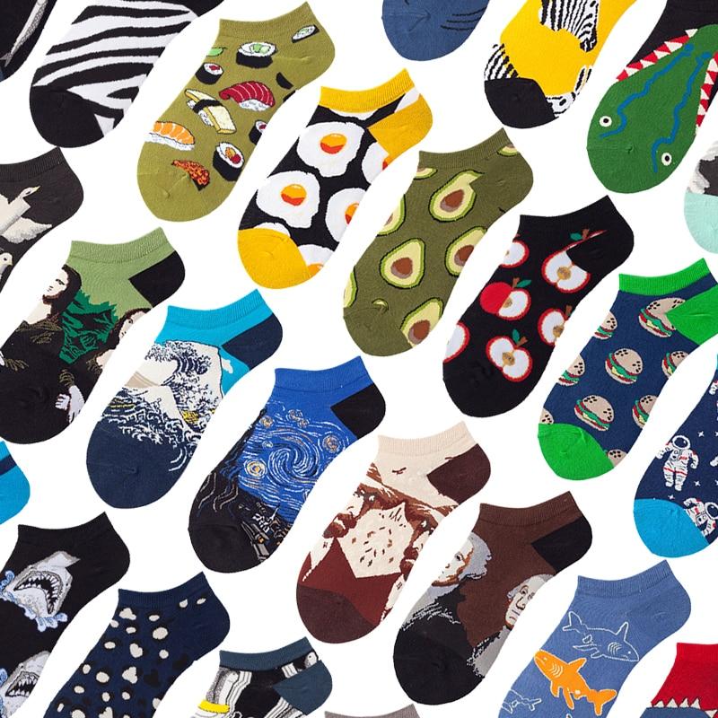 Носки-невидимки хлопковые для мужчин и женщин, смешные носки-тапочки с фруктами, животными, летние, с коротким вырезом, 5 пар