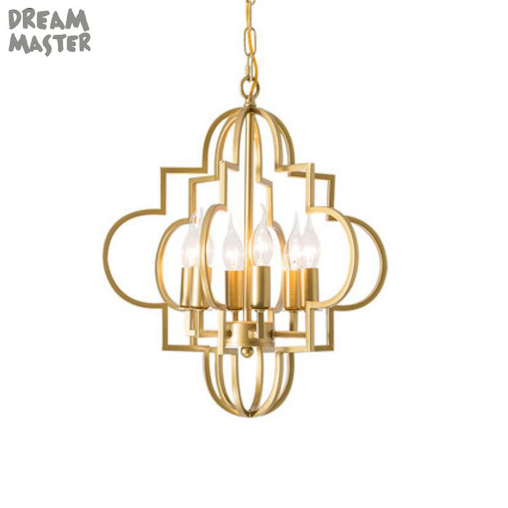 America Style Gold Modern Chandeliers Home Indoor Lamp Lustres De Para Dining Room Chandelier Lighting Hollow Out 3 6 Lights