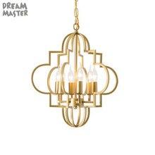 אמריקה סגנון זהב מודרני נברשות בית מקורה מנורת lustres דה para אוכל חדר נברשת תאורה חלול החוצה 3 6 אורות