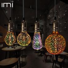3D Светодиодная лампа звезда E27 винтажный Эдисон ночной Светильник Красочные Bombillas ретро стекло Lampara Ampoule Рождественский домашний декор фейерверк RGB