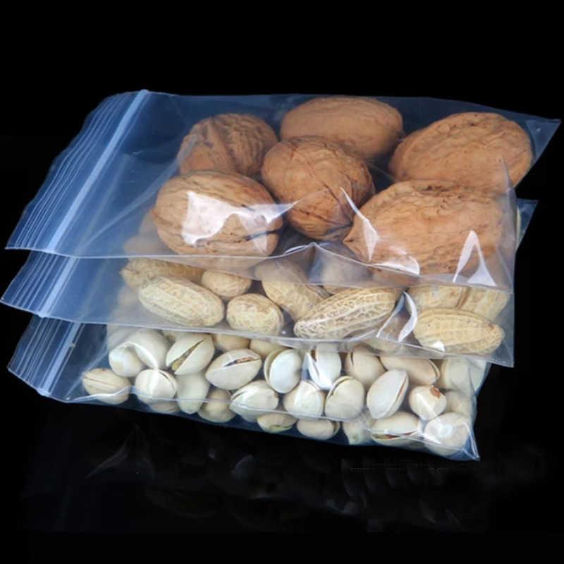 Bolsas transparentes con cierre de cremallera bolsa de almacenamiento de paquetes de alimentos con cierre de plástico gruesas pequeñas joyas embalaje bolsas con cremallera grosor 0,08mm