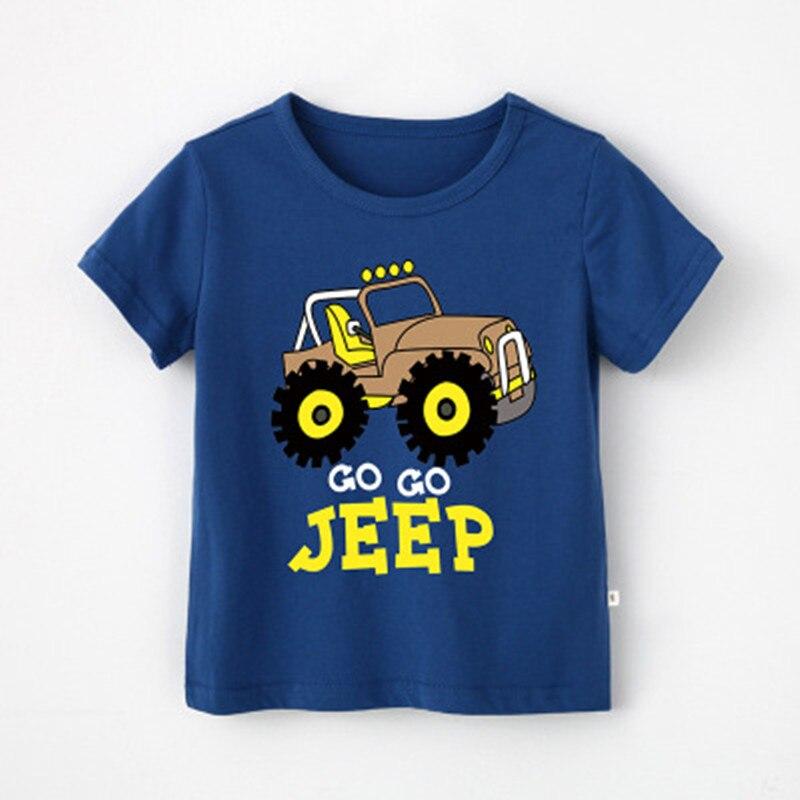 Summer Casual Children's Cars Trucks Dinosaur Cartoon T-Shirts Kids Boy Tops Tees Baby Boys Tops Baby Children T-Shirts 4018