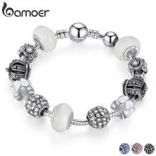 BAMOER серебряный браслет и браслет с подвеска в форме королевской короны и хрустальный шар белый бисер для женщин Прямая поставка PA1456