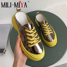MILI-MIYA Designer Women Soft Cow Leather Sneakers Slip On Mules Women'
