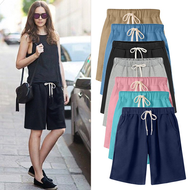 Shorts Women Summer Bermuda Shorts Large Size 7xl 8xl Loose Casual Sports Stretchy Cotton Straight Leg Breathable Sweatshorts