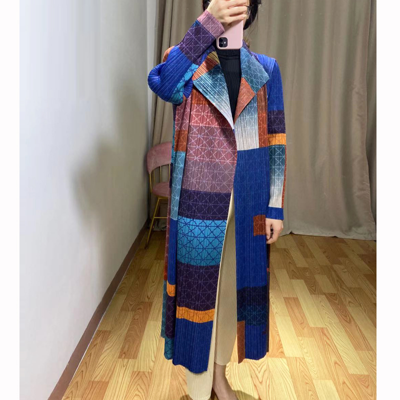 Changpleat 2019 Autumn New Women Printed Trench Miyak Pleated Fashion Design Stand Collar Long Sleeve Cardigan Long Coats Tide