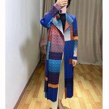 Changpleat 2019 autumn New Women Printed Trench miyak Pleated Fashion Design Sta