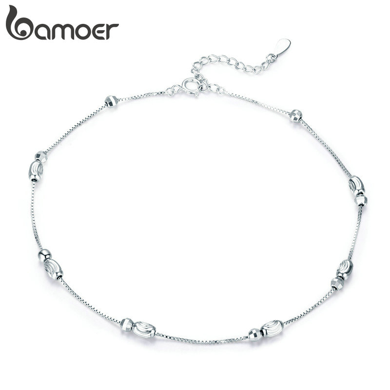 bamoer Metal Beads Silver Anklet for Women Box Chain Bracelet for Ankle 925 Sterling Silver Foot Jewelry Bijoux GXT010