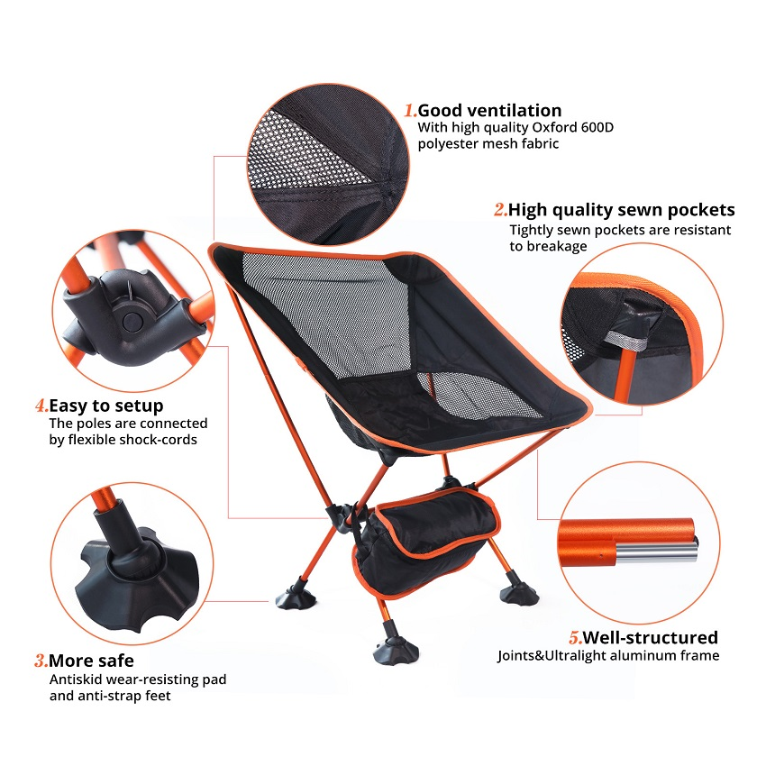 Details about  /Portable Moon Chair Lightweight Fishing Camping BBQ Chairs Folding Extended gift