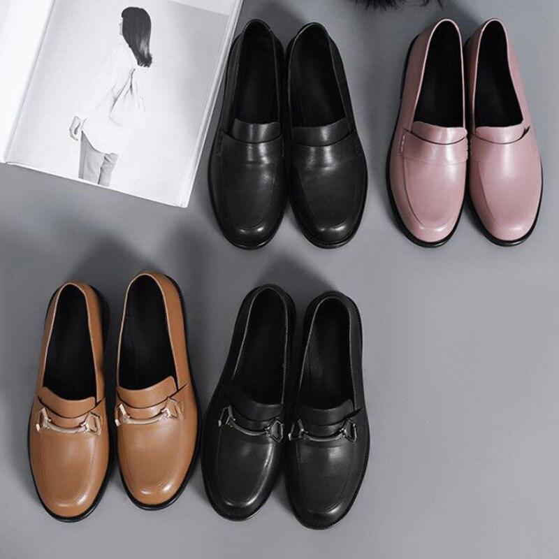 Sapatos femininos oxford sapatos de trabalho formal calçado preto apartamentos deslizamento on retro couro genuíno sapatos femininos de casamento mocassins - 6