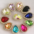 Mix color water drop sew on rhinestones with gold base Flatback rhinestone strass with hole DIY on party dress clothing bags