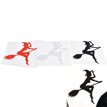 Black White Red 12*11.4CM FUNNY SEXY WITCH LADY GIR Sexy Witch Lady Car Stickers Car Sticker Decals image