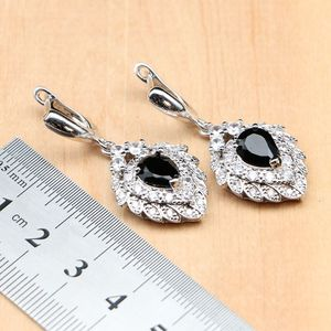 Image 4 - Strawberry 925 Silver Jewelry Black Zircon White CZ Costume Jewelry Sets For Women Earrings/Pendant/Rings/Bracelet/Necklace Set