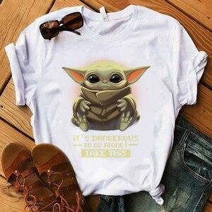 Lus Los Cute Baby Yoda T Shirt Women Star Wars Mandalorian T-Shirt Cartoon Yoda Tshirt Female girl Top Tees(China)