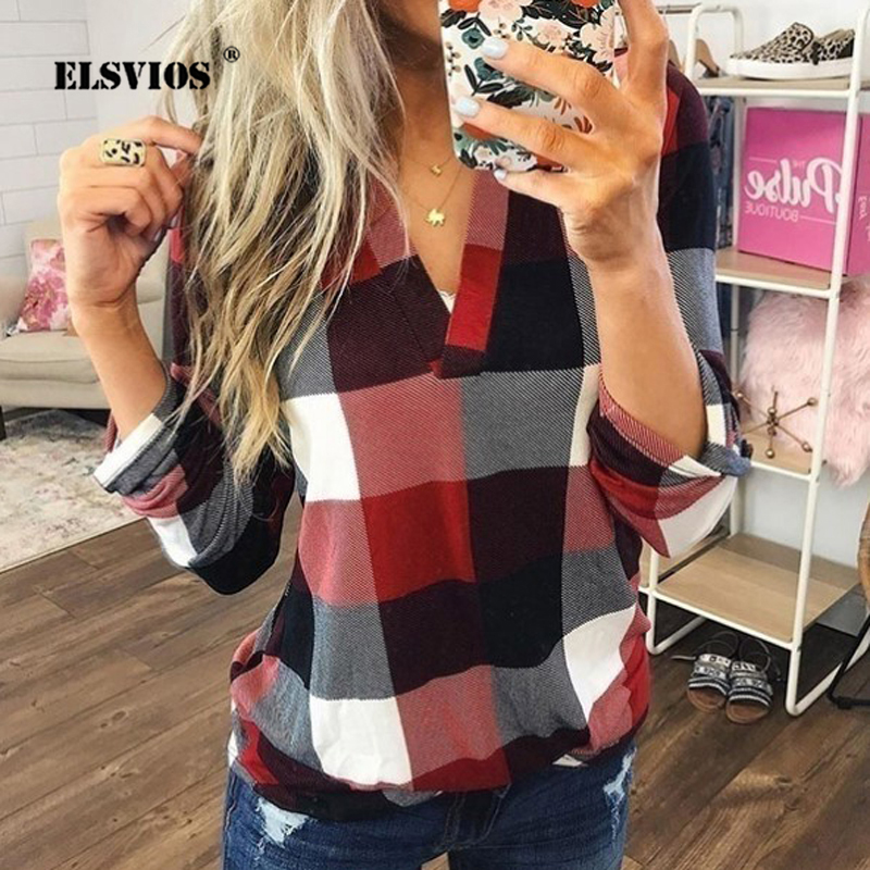 ELSVIOS 2019 Plus Size V-neck Plaid Printed   Blouse     Shirt   Women Autumn Long Sleeve Loose Tops Elegant Ladies Office   Blouses   S-5XL