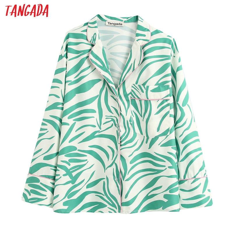 Tangada Women Retro Print Green Blouse Long Sleeve Chic Female Casual Loose Shirt Blusas Femininas BE357
