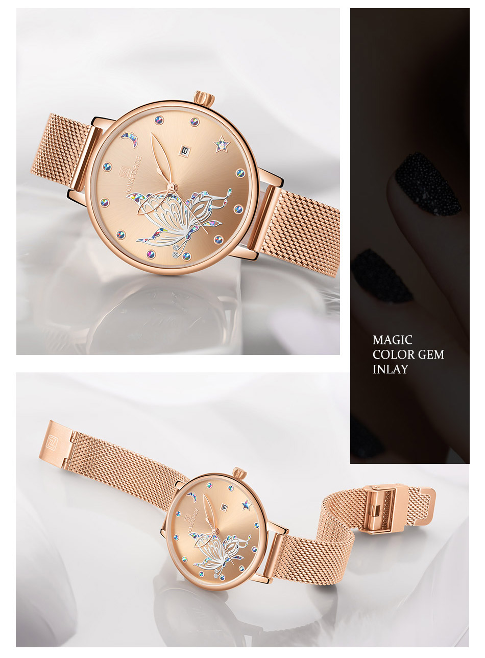 borboleta relógio moda quartzo senhoras malha aço