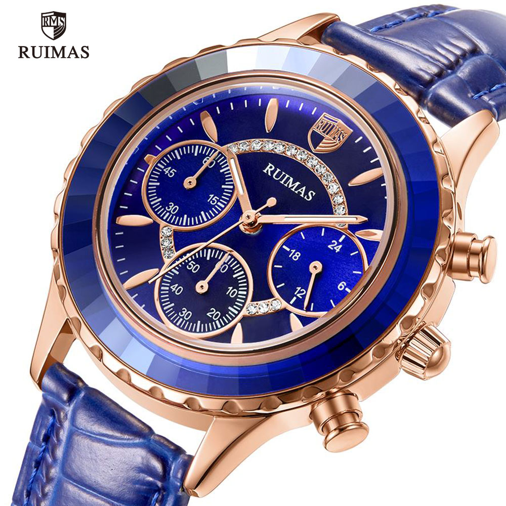 RUIMAS Luxury Quartz Watches For Women Top Brand Blue Leather Wristwatch Ladies Woman Chronograph Watch Relogios Femininos 592