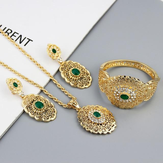 Sunspicems-Conjunto de joyería de boda Chic marroquí, pendientes de gota de Color dorado, brazalete, colgante, collar, regalo de Metal hueco árabe 3