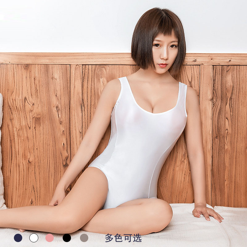Sexy Shiny Japanese <font><b>Kawaii</b></font> Cosplay Swimsuit Zipper Open Crotch Bodysuit Sukumizu Bathing Body Suit Top Swimwear Swimming Costume image