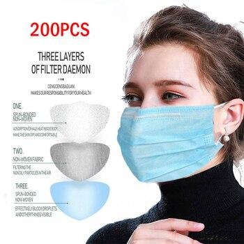 200pcs Disposable Protective Mask 3 Layers Dustproof Facial Protective Cover Masks Maldehyde Prevent bacteria anti-virus Masks